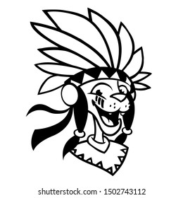 Cartoon Native American character coloring Illustration of native american chief with feathers on his head