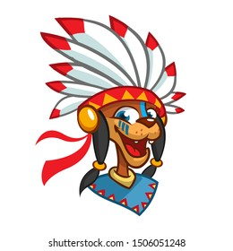 Cartoon Native American character head icon. Illustration of native american chief with feathers on his head