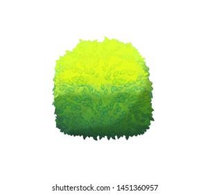 Cartoon nature element bush on white background illustration for children
