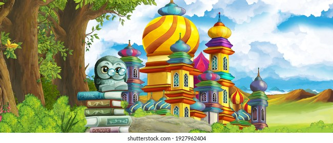 Cartoon nature scene with beautiful castle and the forest illustration for children