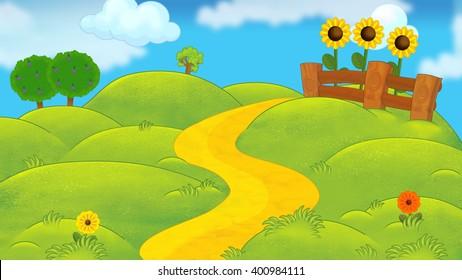 Cartoon nature scene - beautiful day - illustration for children