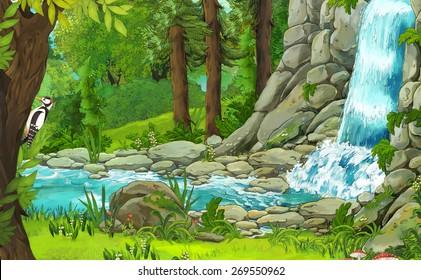 Cartoon nature scene - illustration for the children