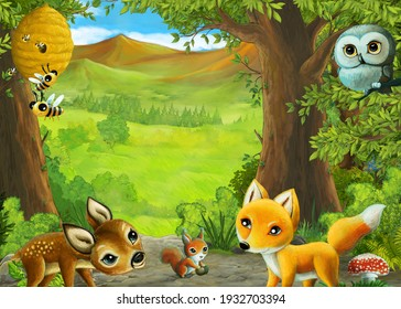 Cartoon nature scene near the forest with a path - illustration for the children