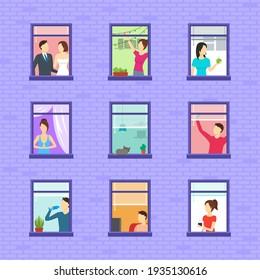 Cartoon Neighbors Zeichensatz Konzept Flach Design Stil Inklusive Frauen, Mann und Katze. Abbildung von Nachbartypen