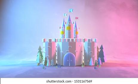 Cartoon neon castle. 3d rendering picture.
