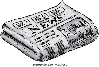 A cartoon newspaper reporting events.