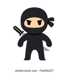 Cartoon ninja drawing in chibi manga style. Cute kids costume illustration.