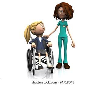 A cartoon nurse standing beside a young girl sitting in a wheelchair. The girl has a broken leg. White background.