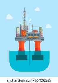 Cartoon Oil Drilling Platform in The Sea or Ocean Flat Design Style. illustration