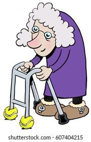 A cartoon of an old lady with a walker/zimmer frame