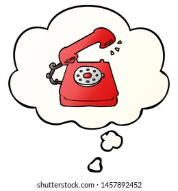 cartoon old telephone with thought bubble in smooth gradient style