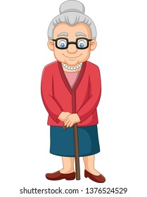 Cartoon Old woman with a cane