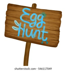Cartoon old wood banner with blue hand drawn text. Easter egg hunt concept invitation card. Wooden sign texture poster isolated on white. 2d digital illustration.