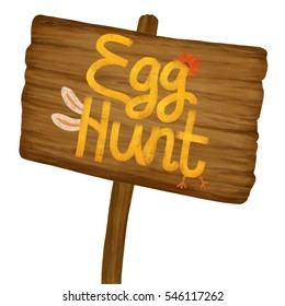 Cartoon old wood banner with yellow hand drawn text. Easter egg hunt concept invitation card. Wooden sign texture poster isolated on white. 2d digital illustration.