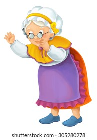 Cartoon older woman - illustration for the children