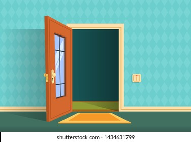 Cartoon open door. Apartment hallway entrance, office lobby. Home entry corridor background. Illustration of entrance and entry, exit door home