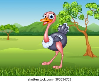Cartoon ostrich in the jungle