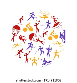 Cartoon Outdoor Activities Sports Games Round Design Template Include of Badminton, Footbal or Soccer, Swimming and Running Flat Design Style. illustration of Sport Game Icon