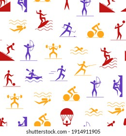 Cartoon Outdoor Activities Sports Games Seamless Pattern Background on a White Include of Badminton, Footbal or Soccer, Swimming and Running. illustration of Sport Game Icon