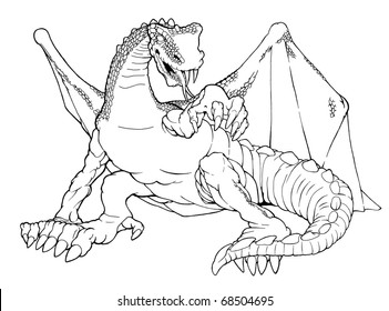 Cartoon outline illustration of a winged dragon