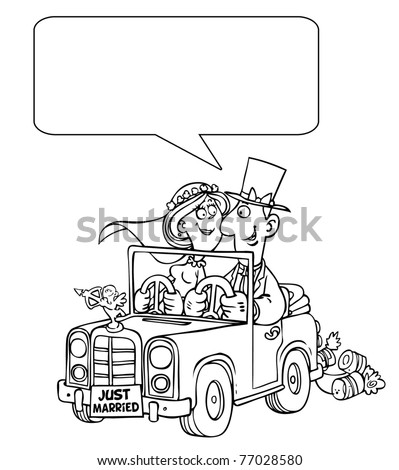 Cartoon Outline Wedding Car