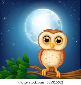 Cartoon owl on the tree branch