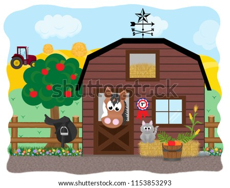 A cartoon paint horse standing at the stable door next to a furry grey cat on a bale of hay, a saddle, and bucket of apples and carrots with a tractor in the farmer's field in the background.