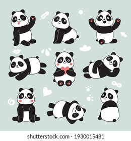 Cartoon panda. Cute panda bear, happy baby animals, lazy funny chinese bears posing. Friendly mascot, characters set