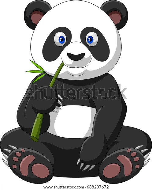 Illustration De Stock De Panda De Dessin Animé Mangeant Du