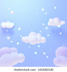 Cartoon pastel blue clouds and yellow stars at night. 3d rendering picture.