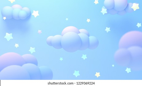 Cartoon pastel purple clouds and yellow stars at night. 3d rendering picture.
