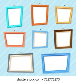 cartoon photo picture creative wall frames. Frame empty gallery, illustration of photo frame blank