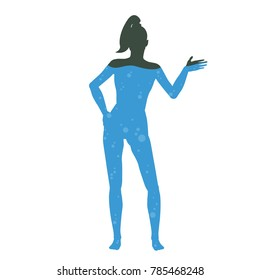 A cartoon picture of water in the human body. Silhouette of man filled with liquid