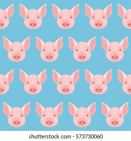 Cartoon pig portrait seamless pattern background. Nature, animal and wildlife theme. Pig for design card, placard, invitation, poster, note, sketch book, t-shirt, scrapbook. Raster copy.