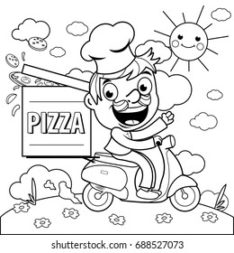 A cartoon pizza delivery man in chef uniform riding a scooter and delivering a pizza. Black and white illustration