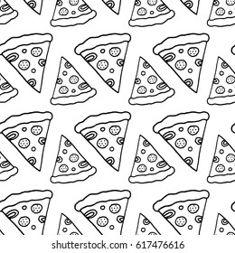 Cartoon pizza pattern with hand drawn pizza slices. Cute doodle black and white pizza pattern. Seamless monochrome pizza pattern for fabric, wallpapers, wrapping paper, cards and web backgrounds.