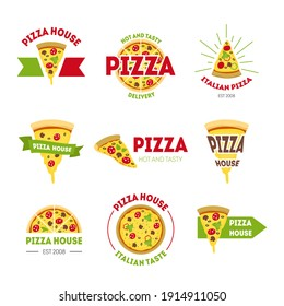 Cartoon Pizzeria Signs Color Set Pizza Food Concept Flat Design Style Label or Badge for Your Business. illustration