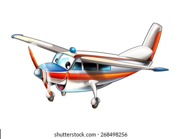 Cartoon plane - glider - caricature - illustration for the children