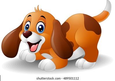 Cartoon playful puppy