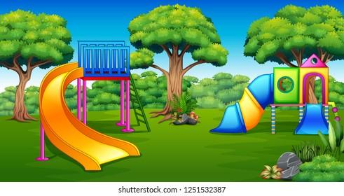 Cartoon of playground in the garden
