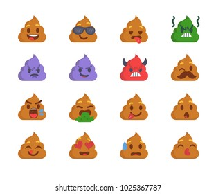 Cartoon poop emoji collection. Set of emoticons with different mood. Flat style illustration isolated on white background.
