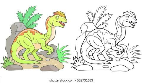 cartoon predatory Dilophosaurus, linear illustration.