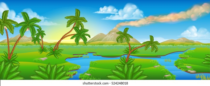 A cartoon prehistoric background Jurassic scene landscape