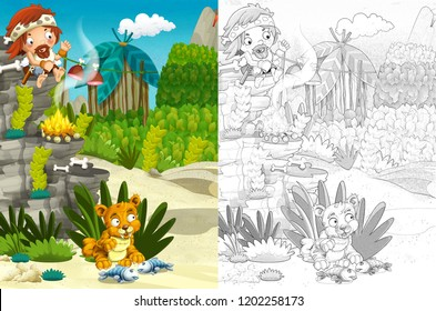 cartoon prehistoric happy and funny scene of a village tribe man and domesticated sabre tooth - with coloring page - illustration for children