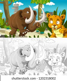 cartoon prehistoric happy and funny scene - with sabre tooth and mammoth smiling - with coloring page - illustration for children