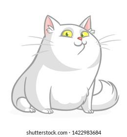 Cartoon pretty white fat cat sitting. Fat  cat illustration