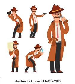 Cartoon private detective. Police inspector character set. Police detective and inspector cartoon character illustration