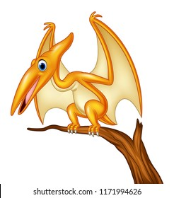 Cartoon pterodactyl on a branch