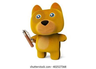 Cartoon puppy with nunchaku,Kung Fu Dog,3D rendering.