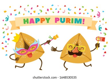 Cartoon Purim Hamantashen or Oznei Haman wearing masks and dancing Happily under the text Happy Purim.